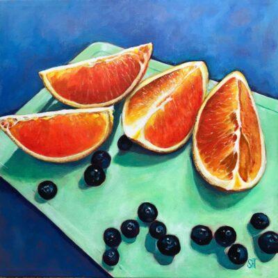 Appelsin og blåbær Mål: 40 x 40 Pris: SOLGT
