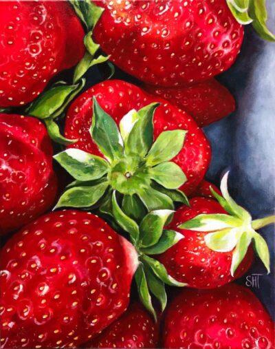 Jordbær Mål: 50 x 40 Pris: SOLGT