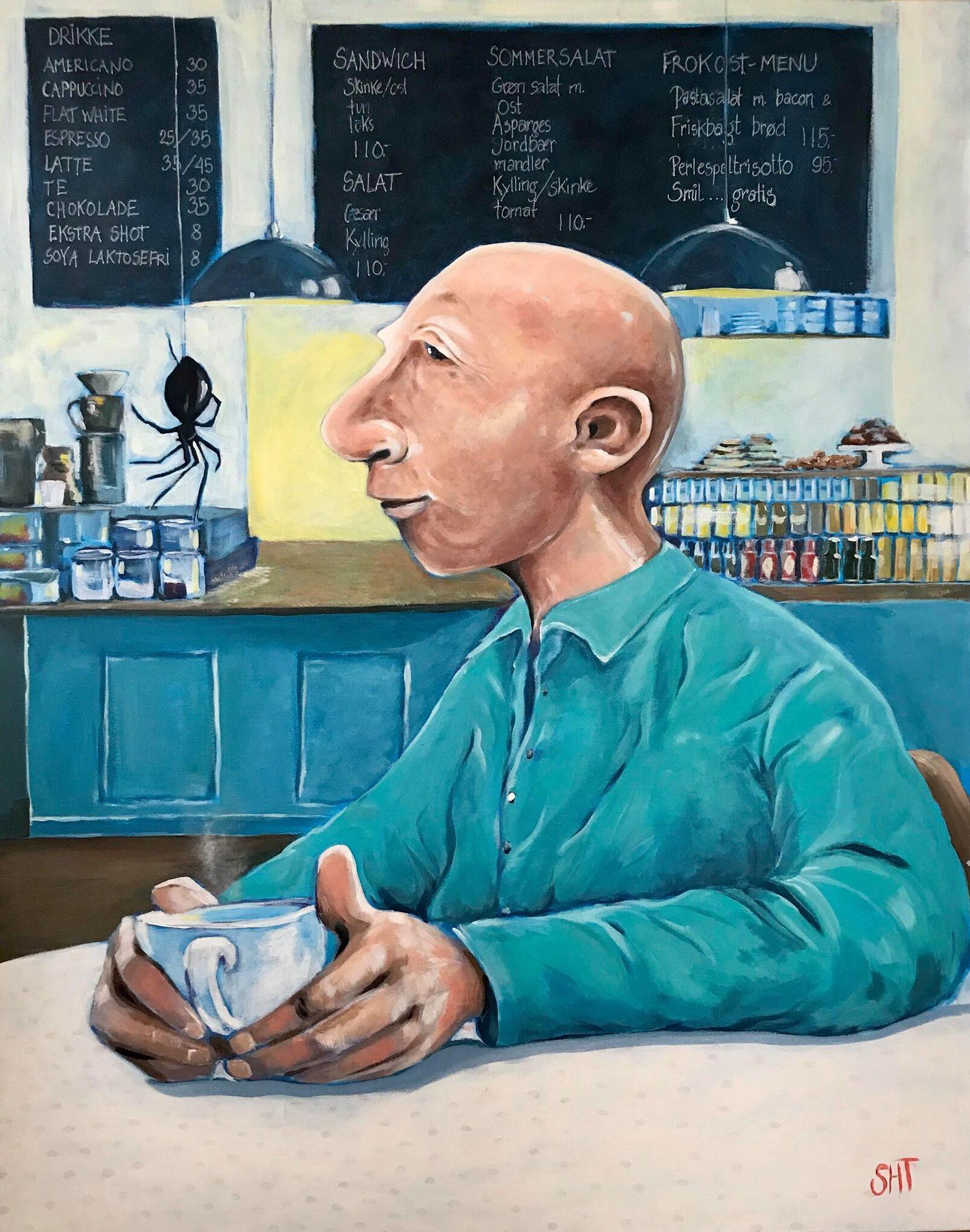 Mand på café Mål: 100 x 80 cm