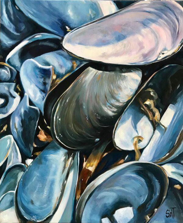 Blåmuslinger Mål: 60 x 50 cm